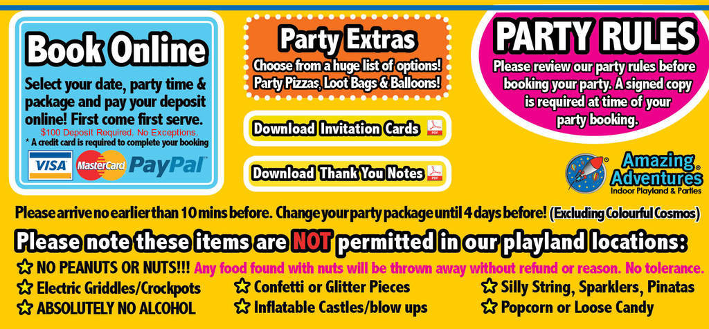 Just Show Up Relax And Enjoy Your Childrens Birthday Party NOTE We Are Not A Peanut Free Environment Our Facilty Is Aware